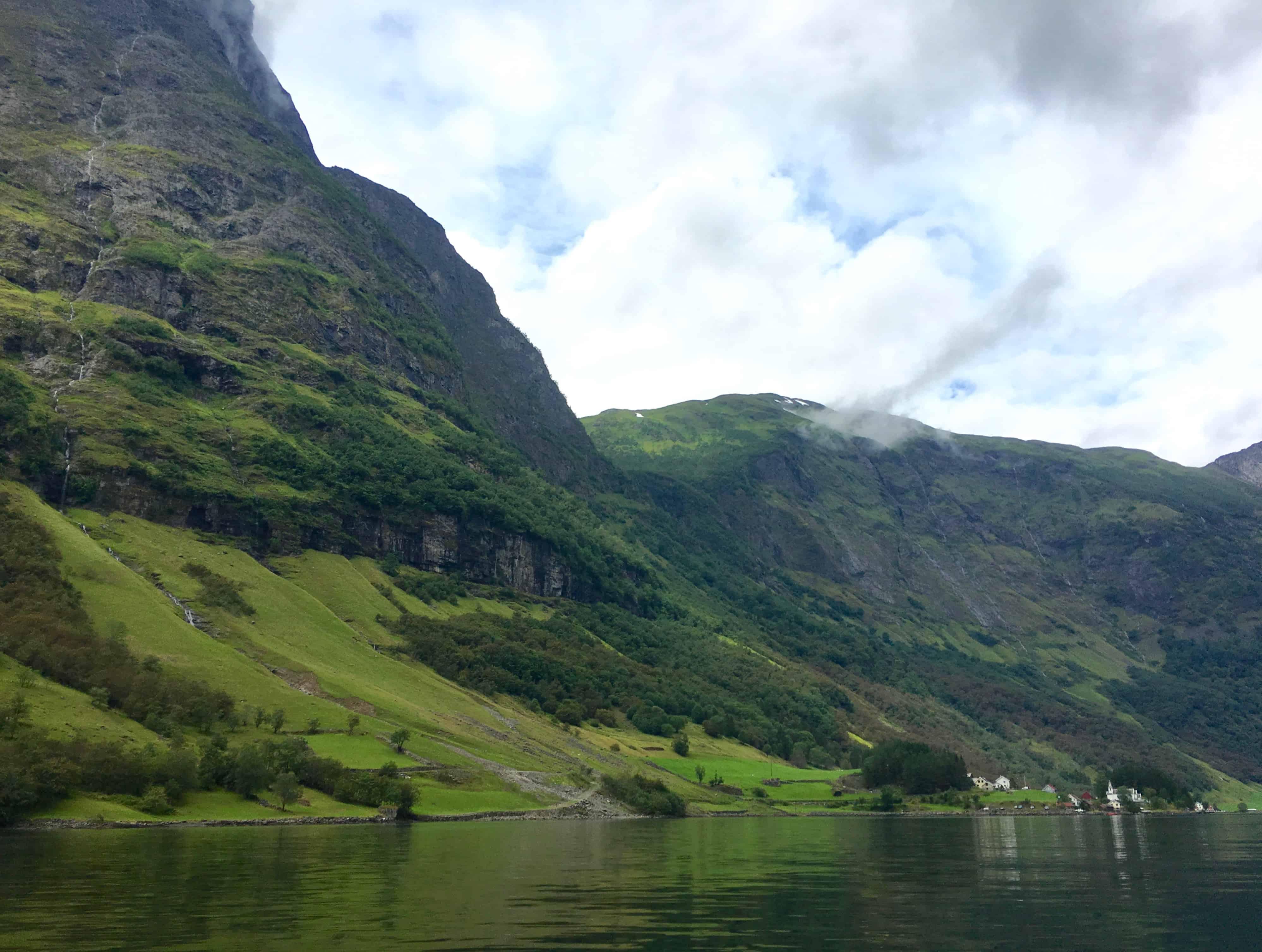 Villages dot the shores of Naeroyfjord
