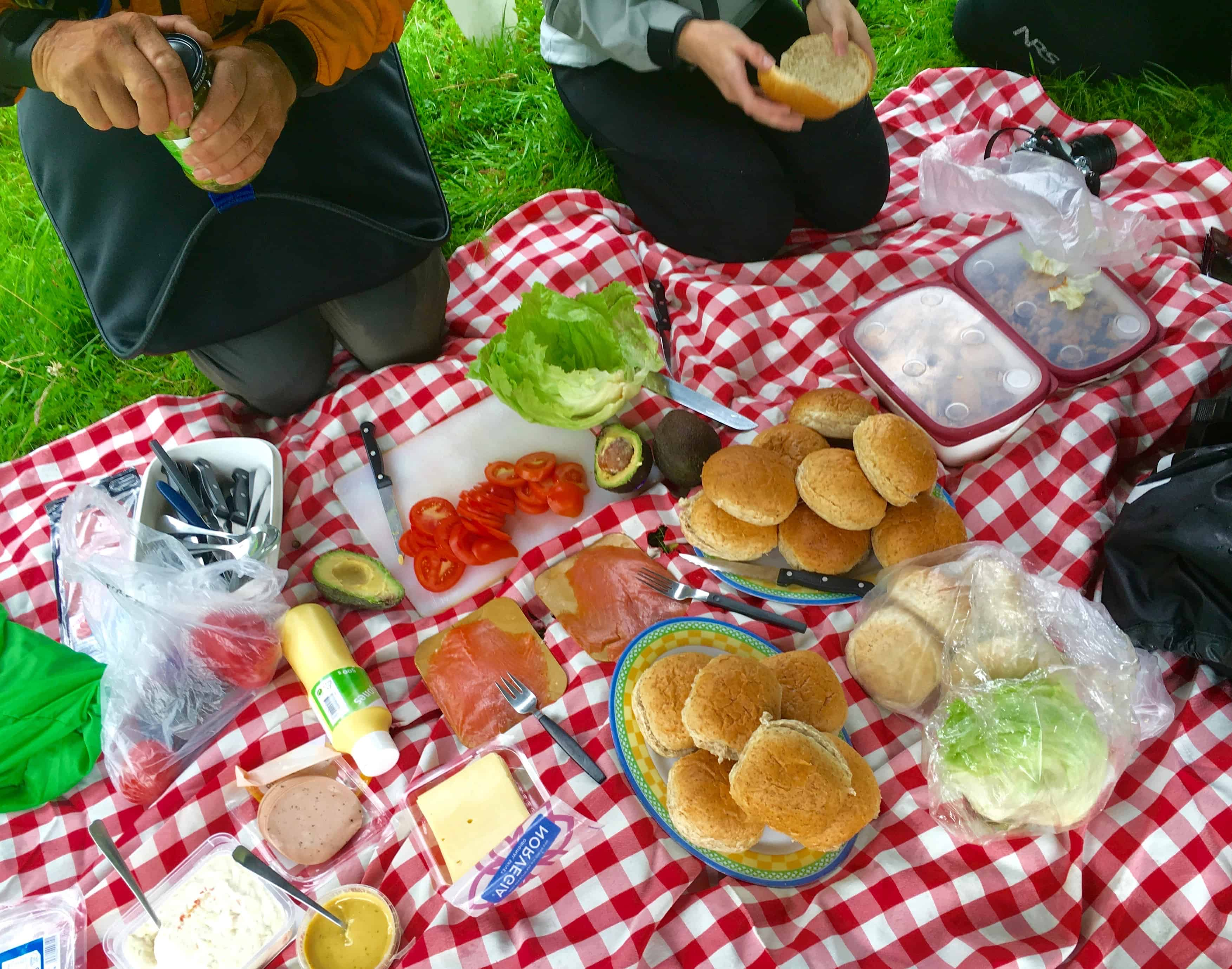 Lunch spread on kayak tour