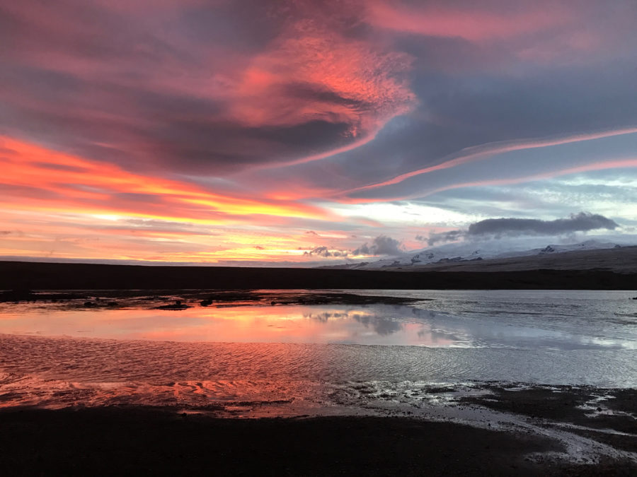 Fire and ice sunset in Iceland