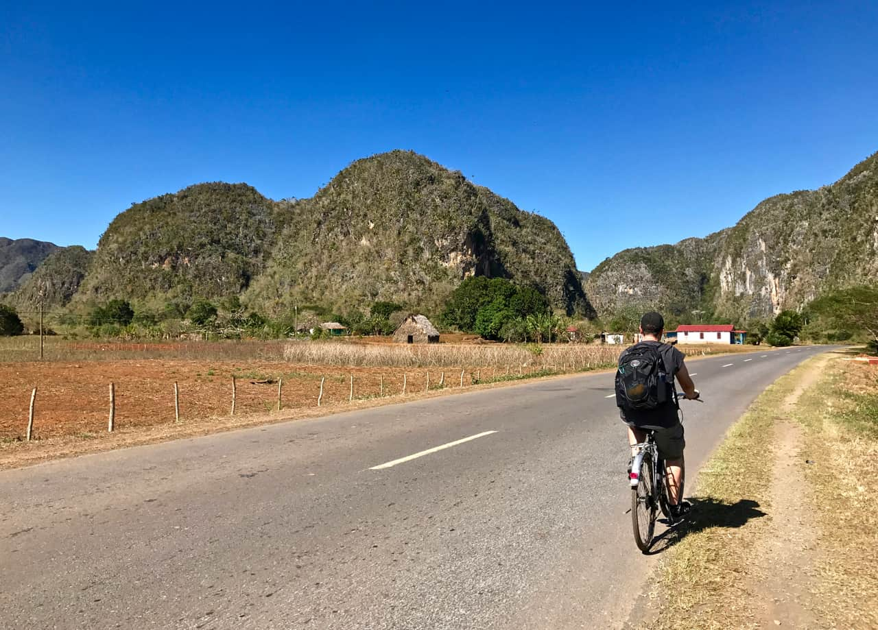 Explore the Vinales countryside by bike during your two weeks in Cuba.