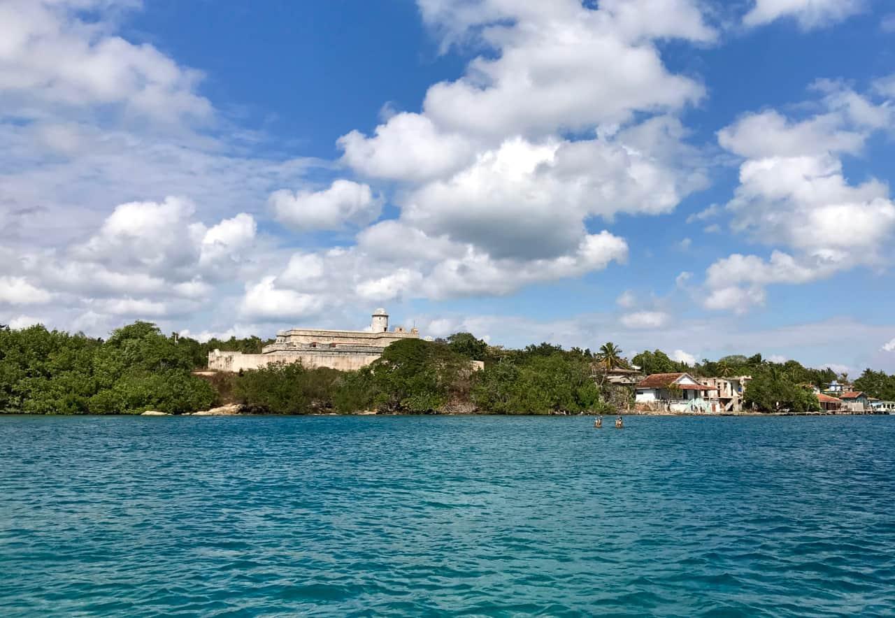 Views towards Castillo de Jaguan from the ferry.