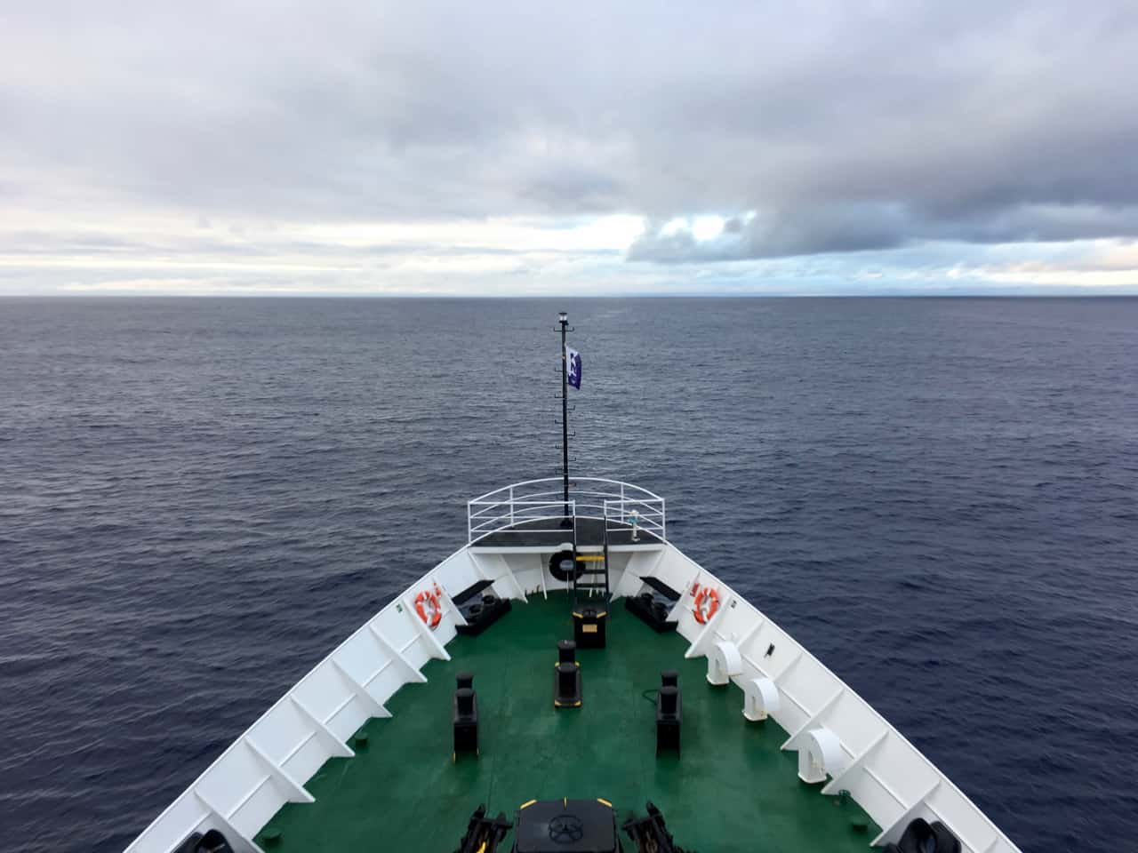 View from the prow of the MV Ushuaia over a very flat Drake Passage.