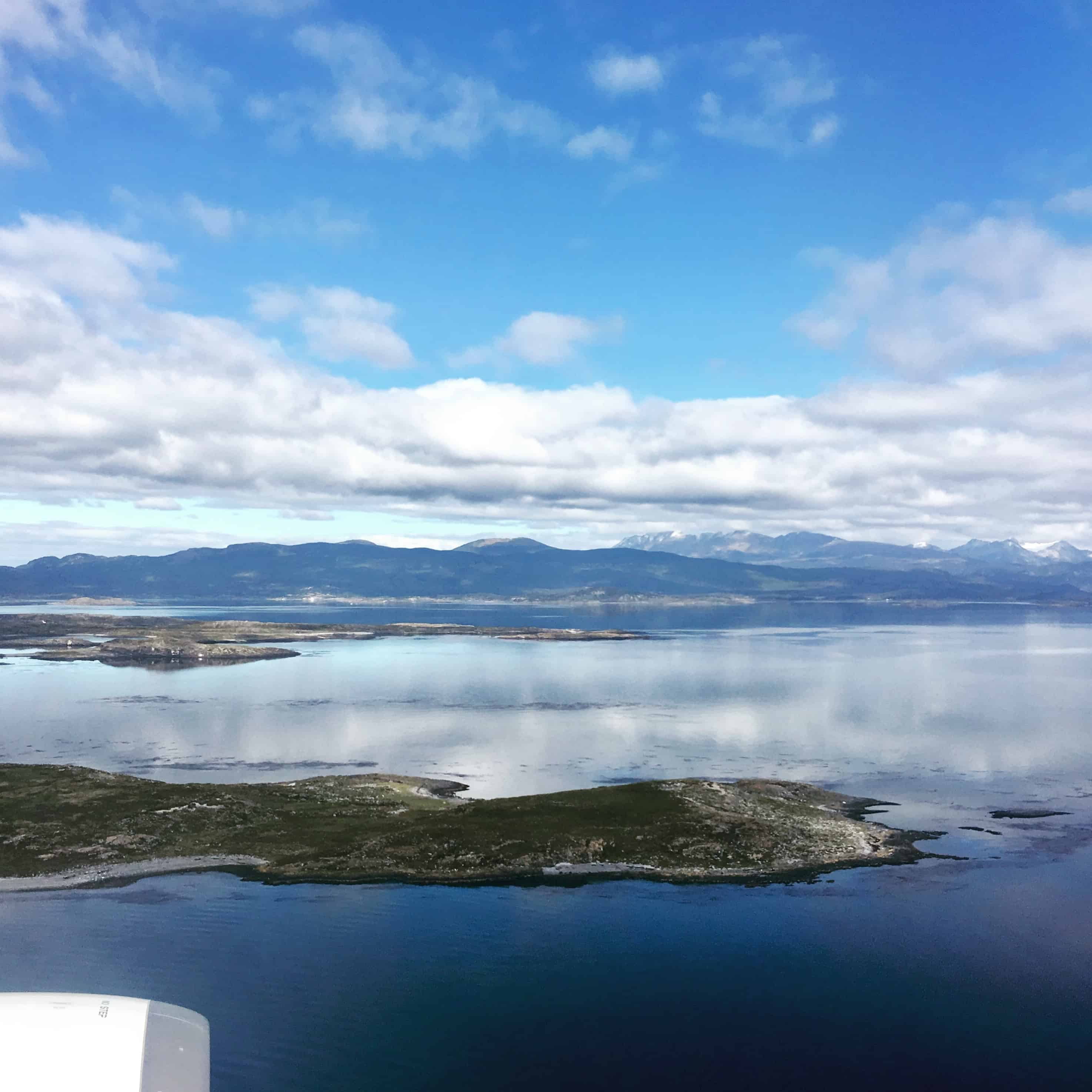 View from the flight into Ushuaia reveals islands and mountains along the Beagle Channel.