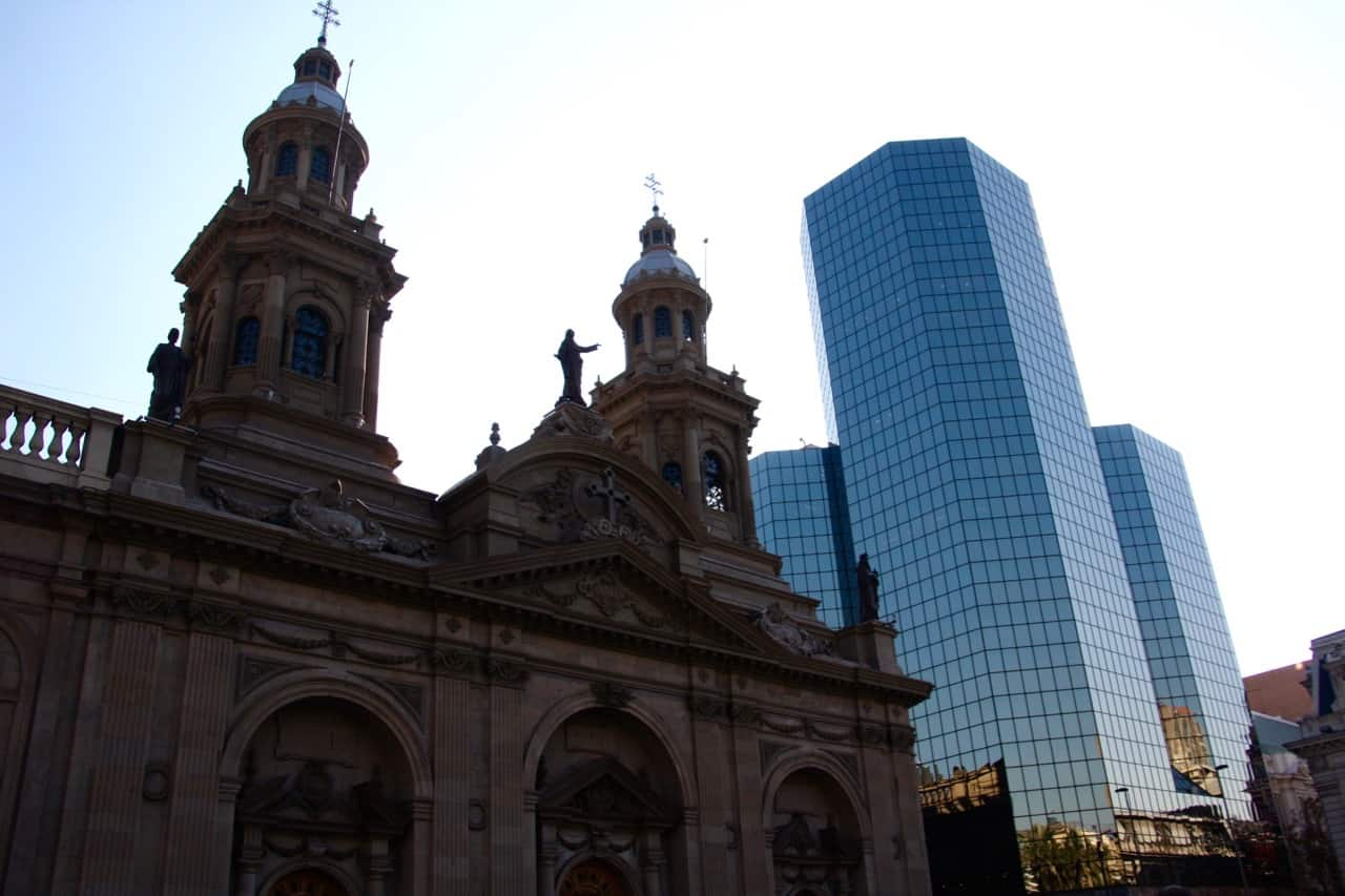 Things to do in Santiago - Cathedral Metropolitana in Santiago, surrounded by high rise buildings