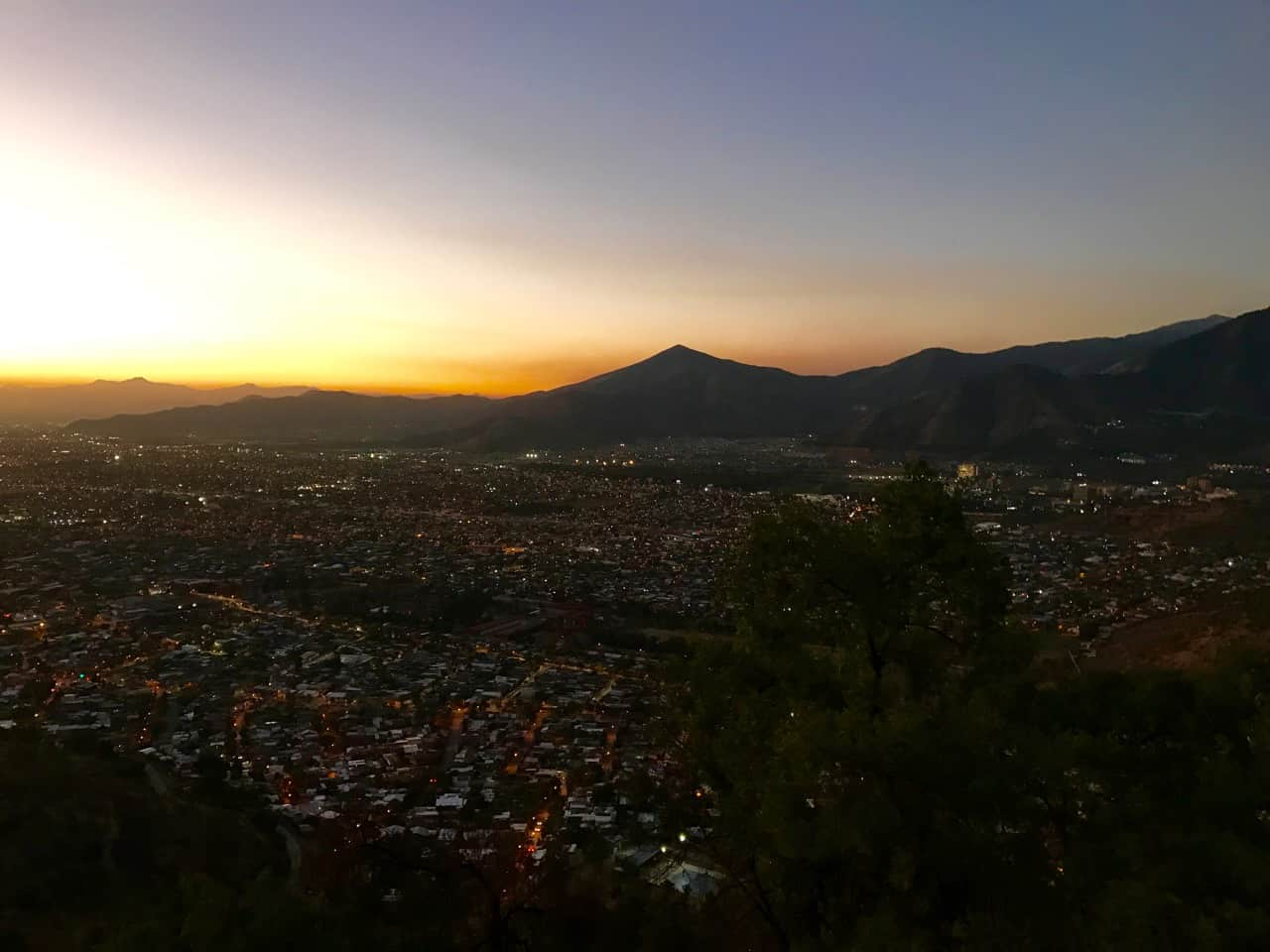 Things to do in Santiago - Sunset views over Santiago from Cerro San Cristobal