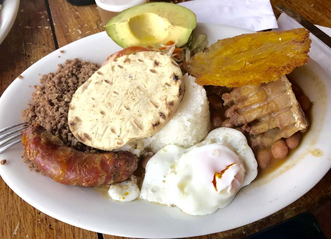Bandeja Paisa offers a feast of Colombian food on one giant plate.
