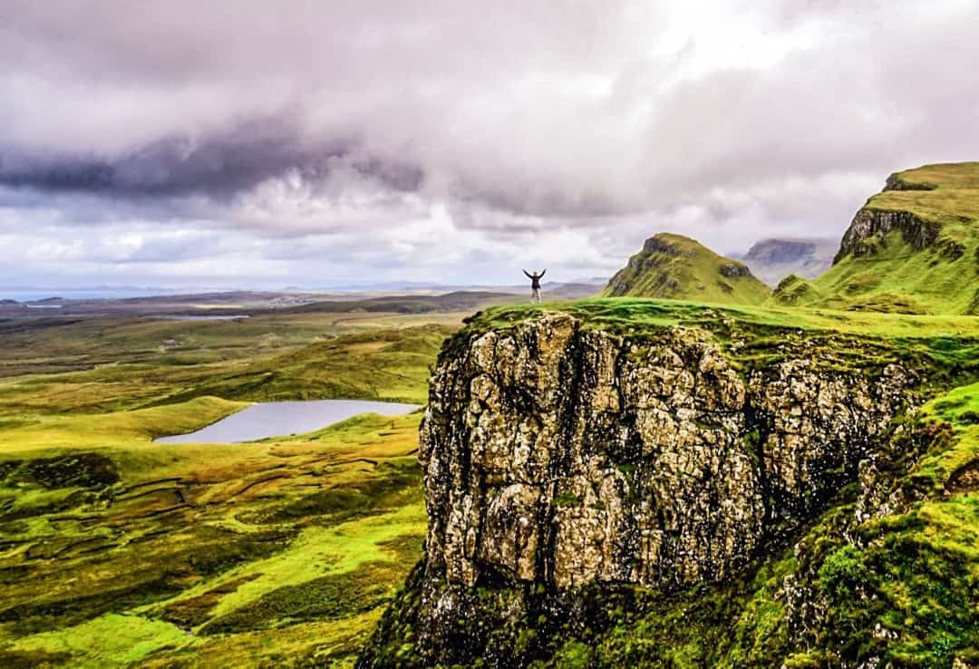 Dan's stands atop a cliff on the Quiraing, a highlight of any Isle of Skye road trip.