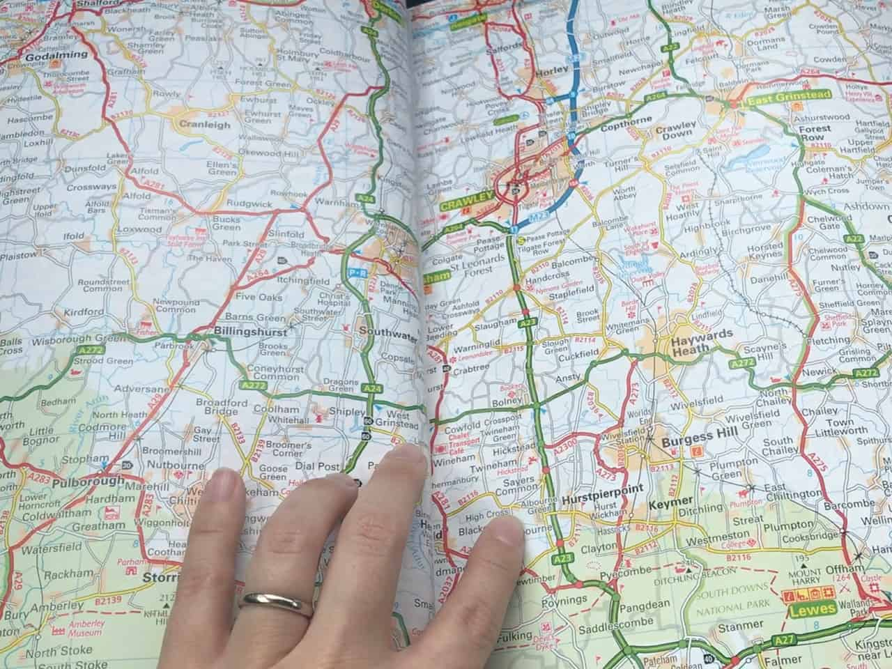East Sussex Road Trip – Studying our trusty AA map