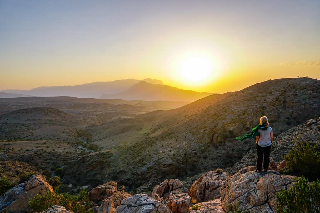 This spectacular sunset shows why Jebel shams is one of the most beautiful places in Oman.
