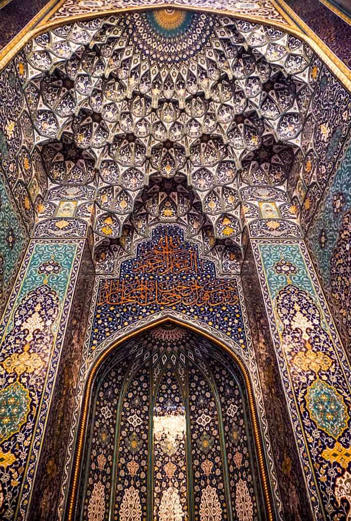 Beautiful oman – the strikingly ornate mihrab of Sultan Qaboos Grand Mosque in Muscat.