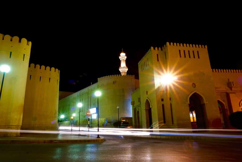 Nizwa Oman – Night scene of the impressive Nizwa Fort.