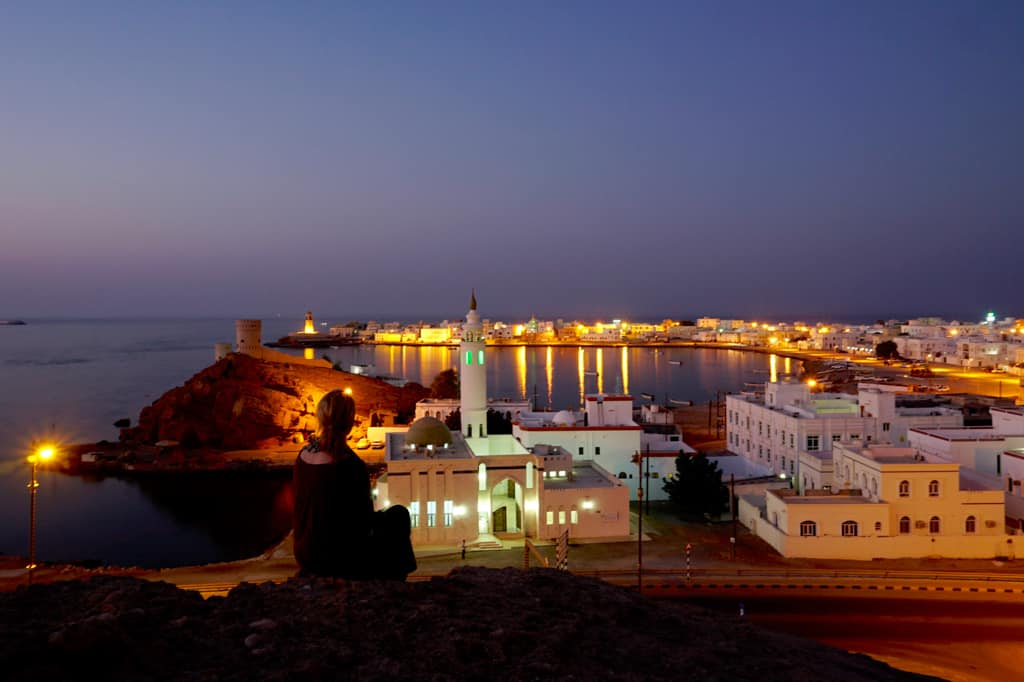 Oman images – Sunset view from Al Ayjah Watchtower across the bay towards the Gulf of Oman.