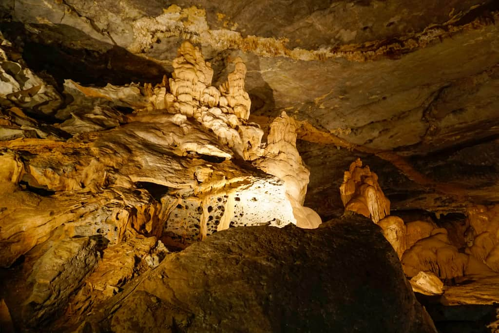 Al Hoota Cave with its spectacular stalagmites and stalactites is one of the more unusual places to visit in Oman,